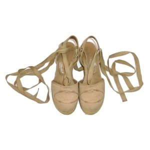 Prada Beige Espadrille Cork Wedges Lace Up Ankle 6